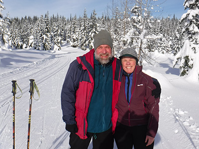 With husband, Ed, on top of Mount Amabilis, near Snoqualmie Pass, last winter