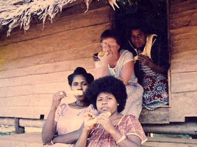 Betty Bekemeier enjoys some down time with her fellow nurses while working in Papua New Guinea in the late '80s