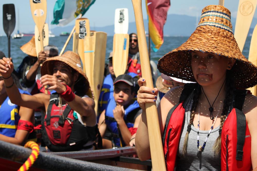 Tribal members at canoe journey