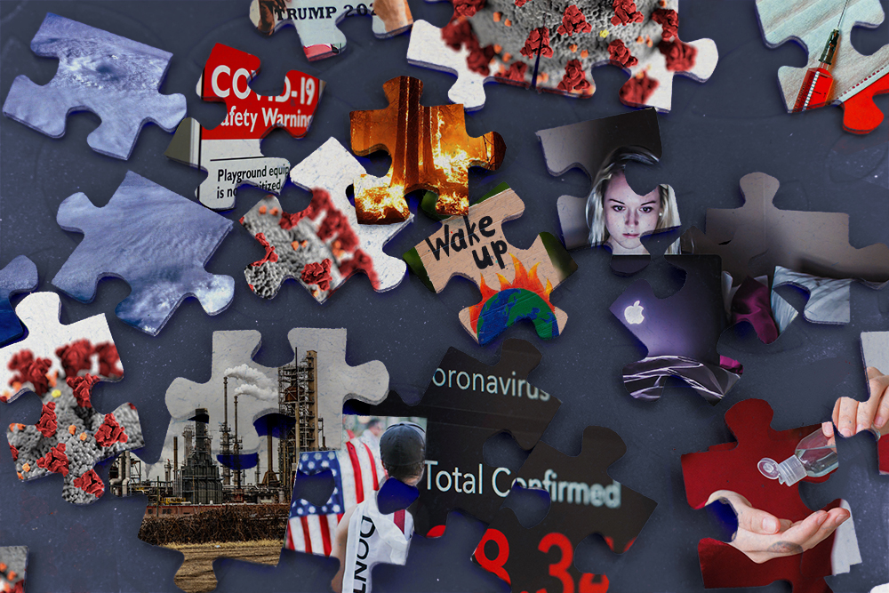 Many puzzle pieces scattered