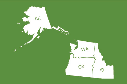 Outline map showing Alaksa, Washington, Oregon, and Idaho.