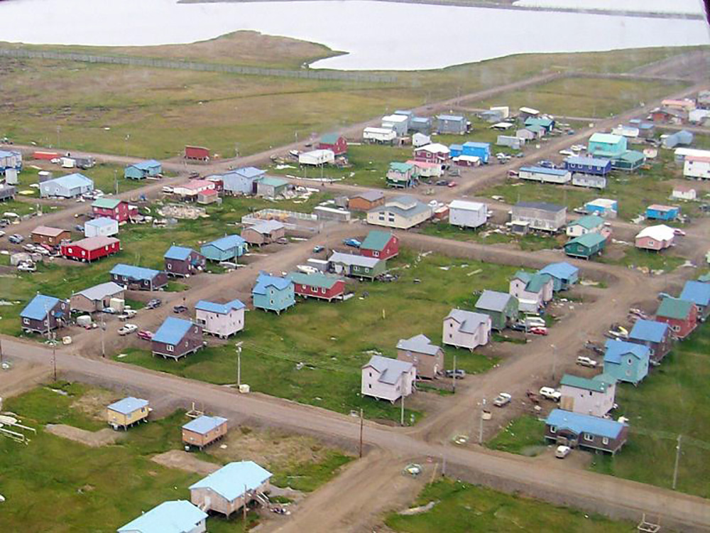 An Alaskan coastal village seen from the air.
