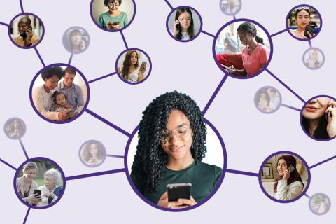 Graphic of a person using their smartphone, connected to others in a network.