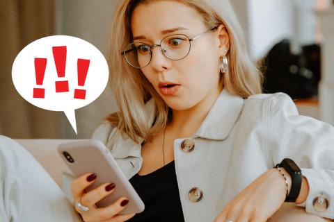 woman reading news