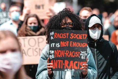 Photograph of an anti-racism protest.