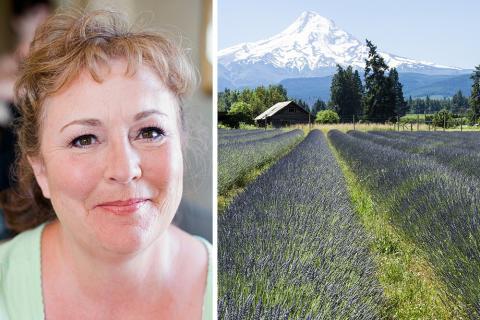 Photograph of Lillian Anderson and Oregon farmland.