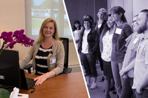 Photo montage showing Jo Anne Ferritto: one at her desk and one with her cohort of PHMC scholars.