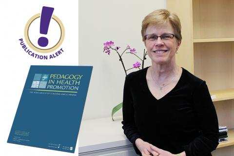 Photo montage showing the cover of the journal Pedagogy in Health Promotion alongside a photo of Betty Bekemeier.