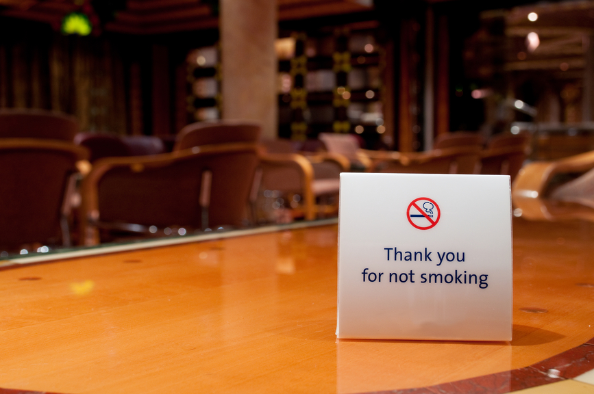 "Photograph of a placard reading ""Thank you for not smoking."""
