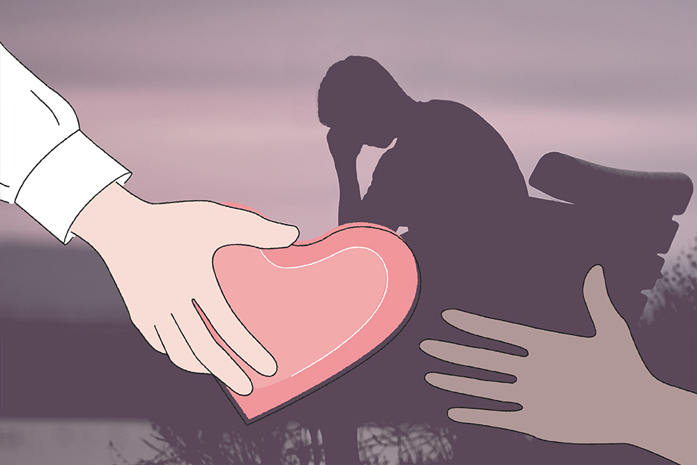 Drawing of a hand extending a cartoon heart to another hand superimposed over a silhouette of a person with their head in their hands.