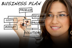 Graphic of a woman drawing a diagram of a business plan on a whiteboard.