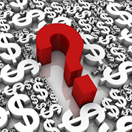 Graphic of a red question mark among a large number of white dollar signs.