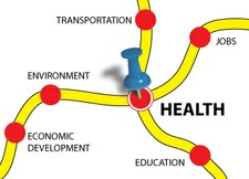"Graphic of a ""map"" with a dot labeled ""Health"" at the intersection of two ""roads."""