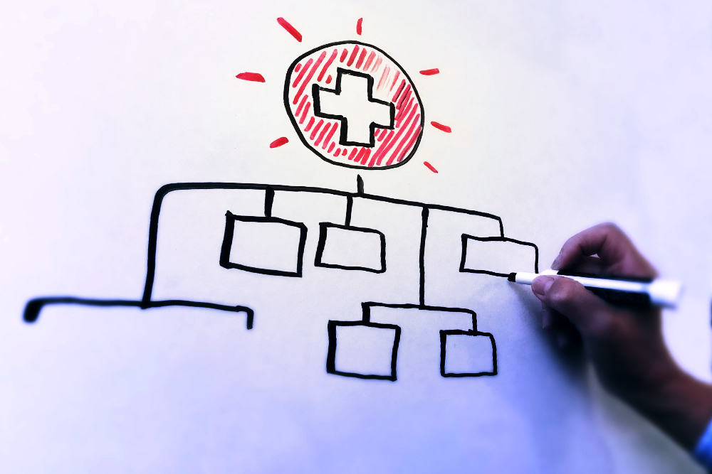 Photograph of a hand drawing an organizational chart with a Public Health logo at the top.