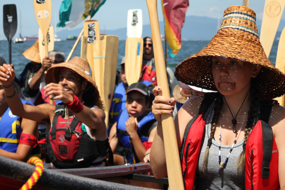 Photograph of tribal members at the annual canoe journey.